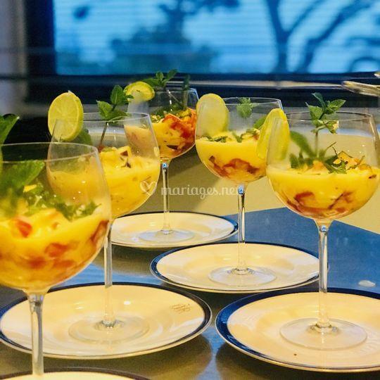 Salade de fruit,sabayon mojito