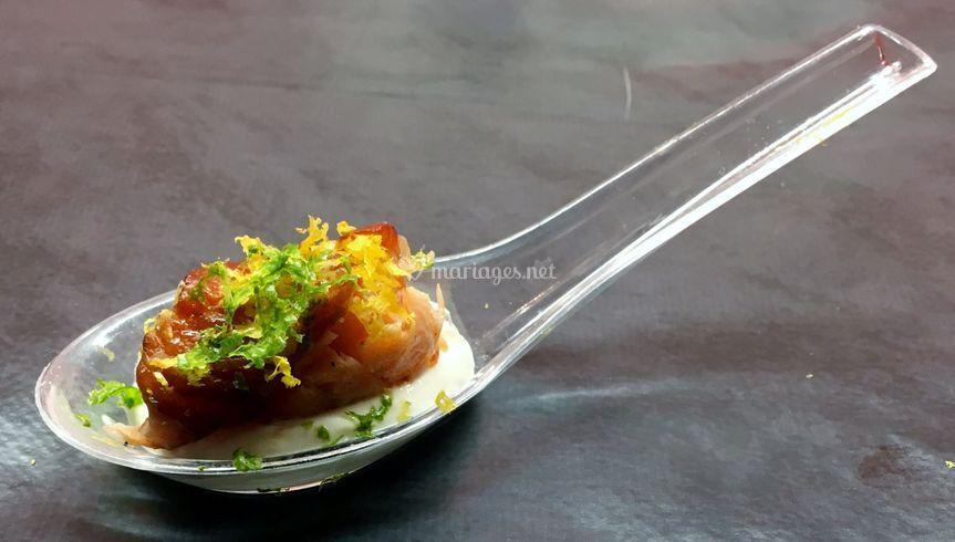Bouchée de saumon rôti et fumé