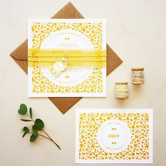 faire-part-mariage-fleuri-jaune