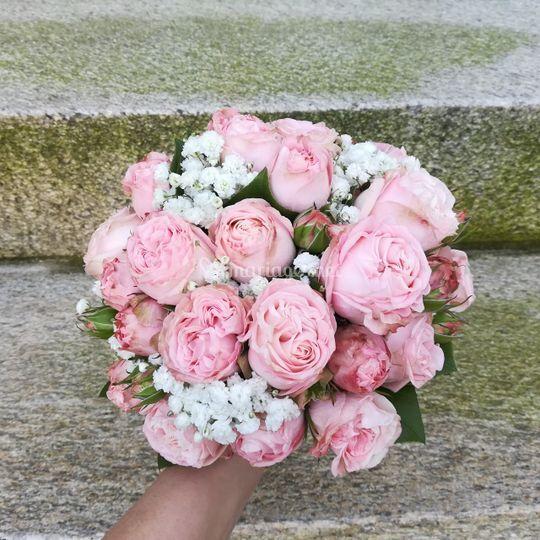 Bouquet de mariée rose tendre