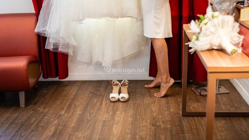 Préparatif robe mariée