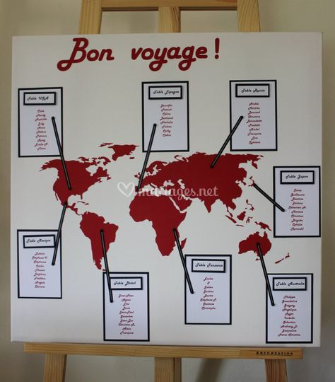 Plan de table thème voyage