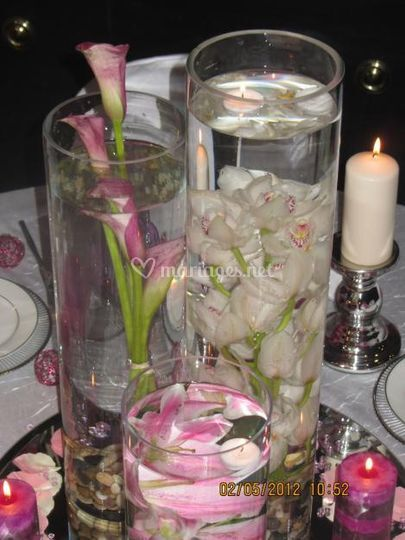 Centre de table 3 vases cylind