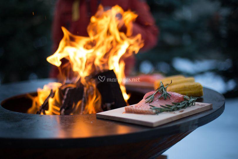 Plancha au feu de bois