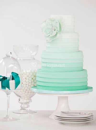 Wedding cake theme verts d eau