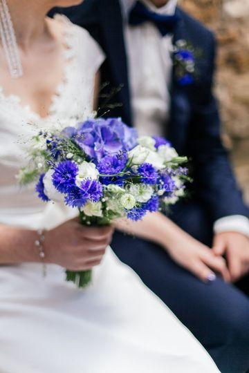 Bouquet de mariée bleue