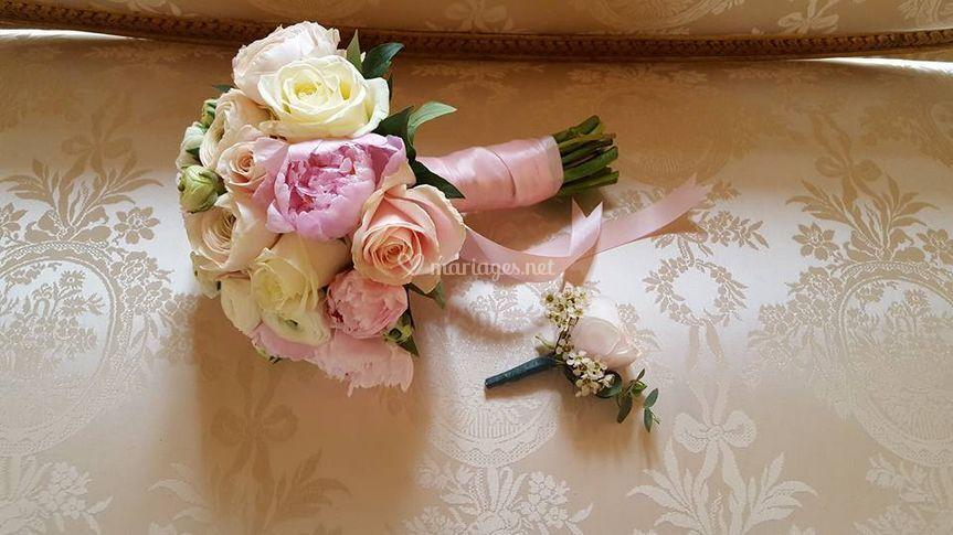 Bouquet de mariée et boutonniè