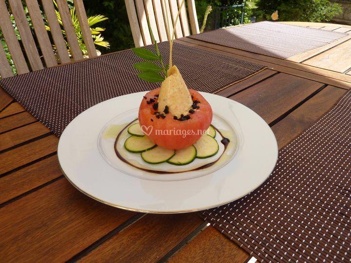 Tomate et soufflé de saumon