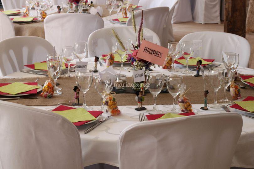 Tables rondes de 8 personnes