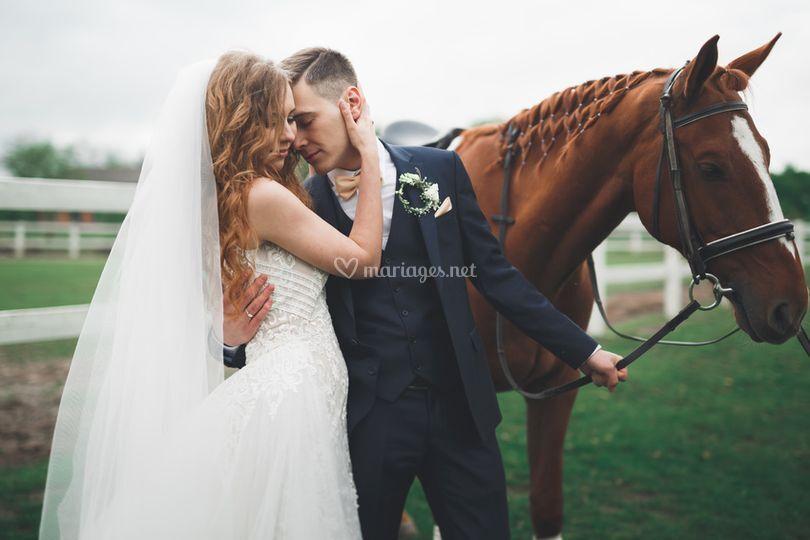 Shooting mariage avec chevaux