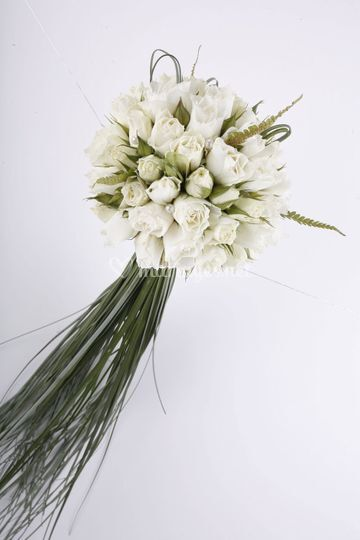 Bouquet Rond Roses blanches