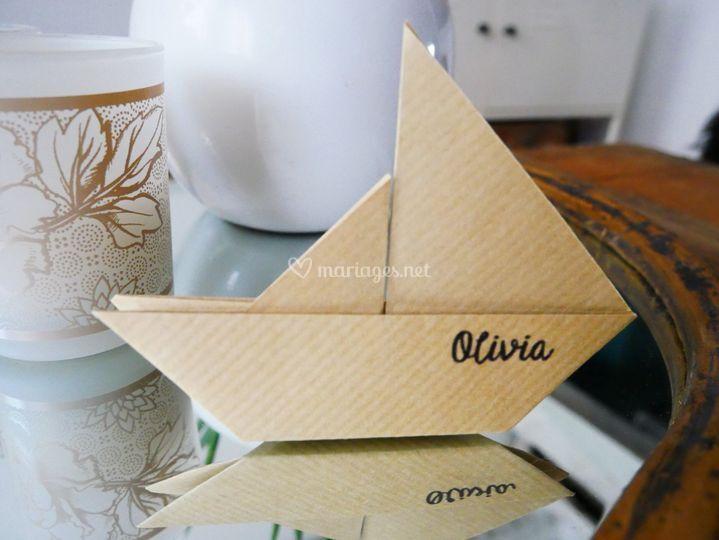 Marque place Bateau Origami