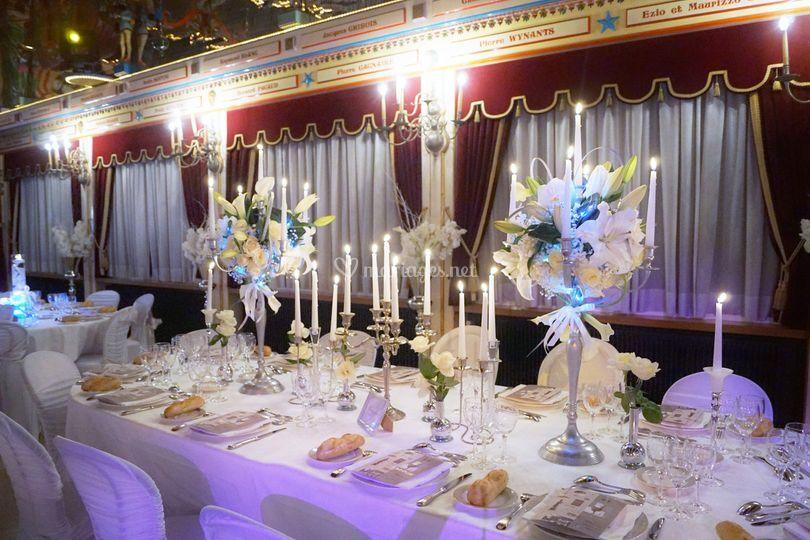 Compo florale sur chandelier