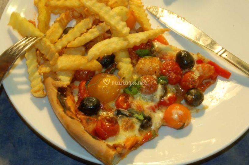Pizza aux tomates cerises
