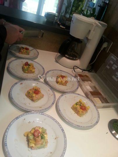 Tartare de saumon et mangue