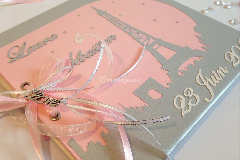 Livre d'or paris rose et gris