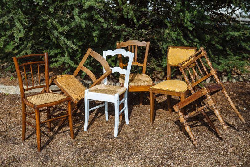 Chaise bois dépareillée