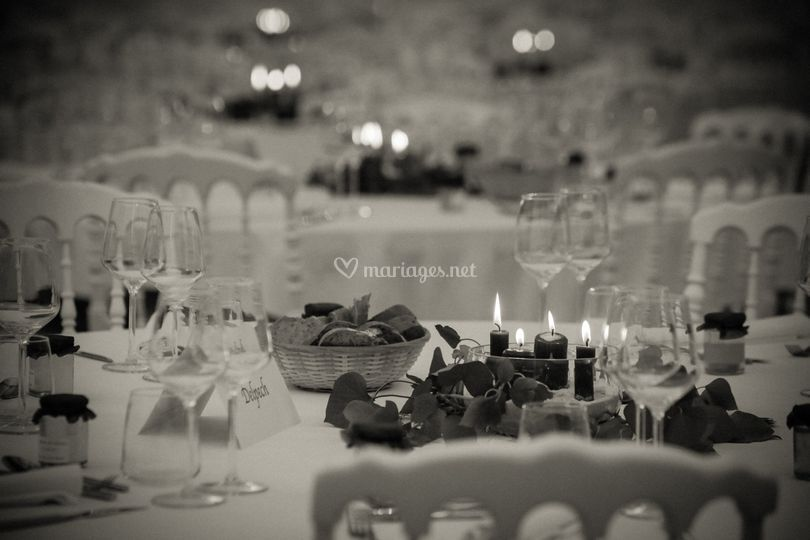 Détail de table de mariage