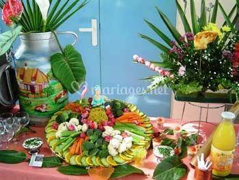 Salade et fleurs