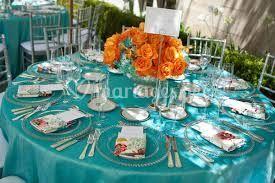 Table turquoise - orange