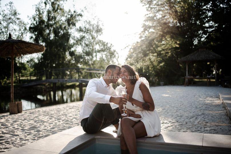 Mariés sur plage