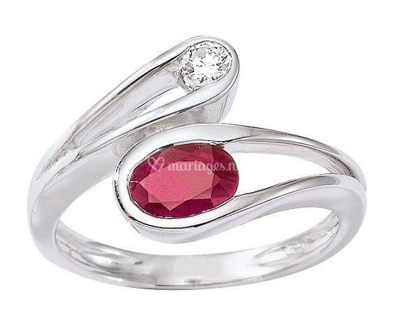 Toi & Moi Rubis et Diamant