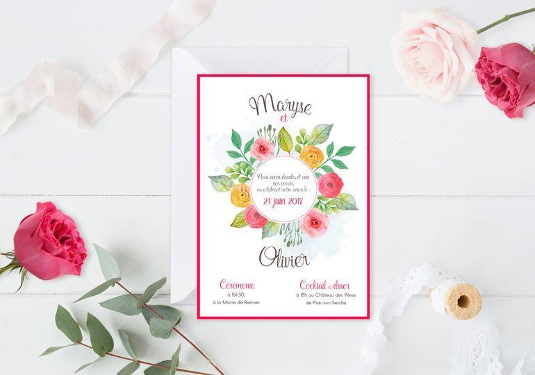 Faire-part de mariage fleurs