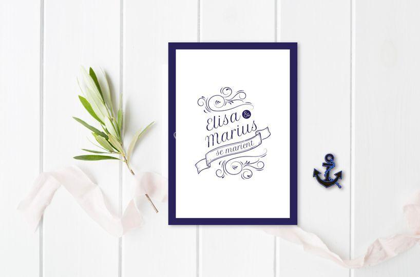 Faire-part de mariage marin