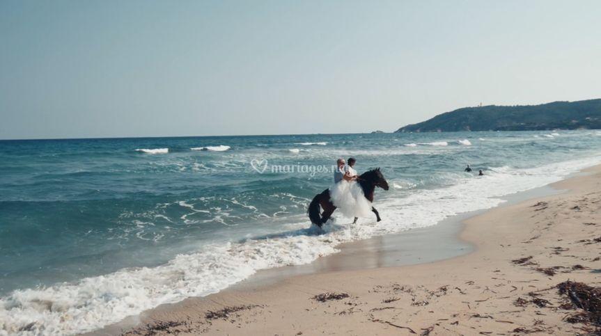 Aurélia et Alexis à cheval.