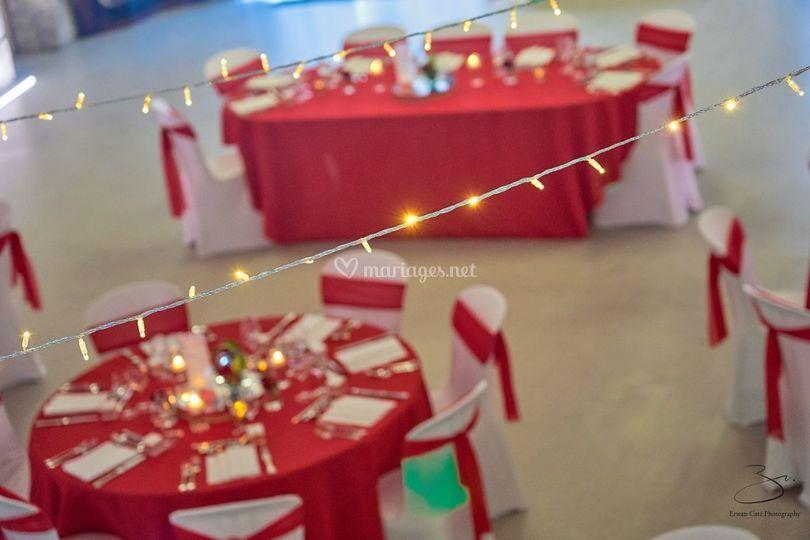 Mariage romantique rouge/blanc