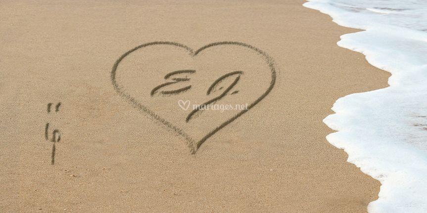 Faire part éciture sur sable