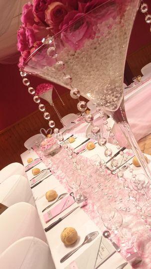 Vase Martini mariage rose