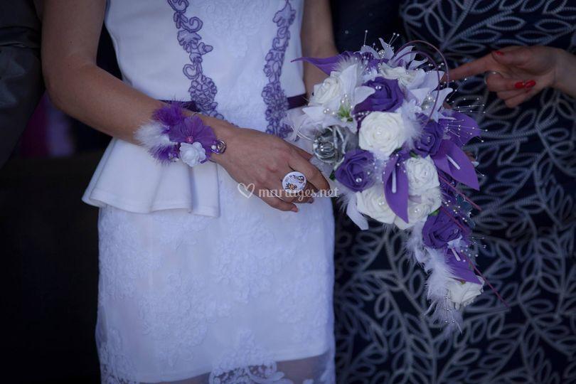 Bouquet mariée violet argenté