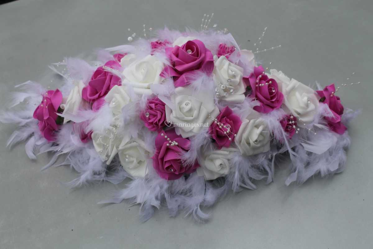 sortie de gros 100% de qualité supérieure super mignon Centre de table roses plumes de Compositions Florales pour ...