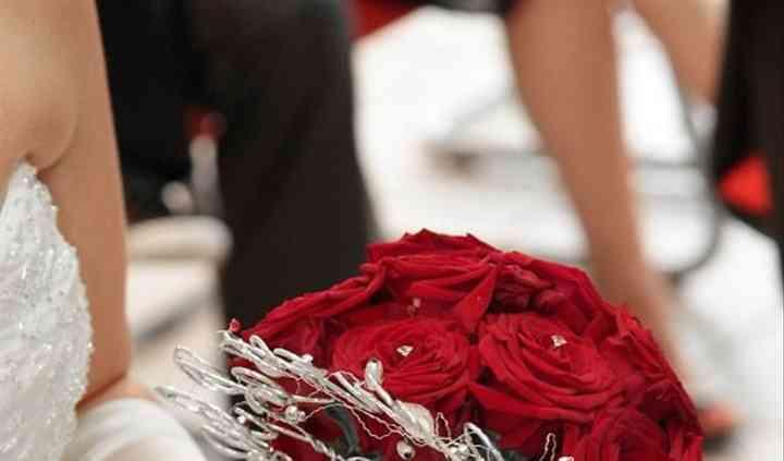 Bouquet chic rouge argent