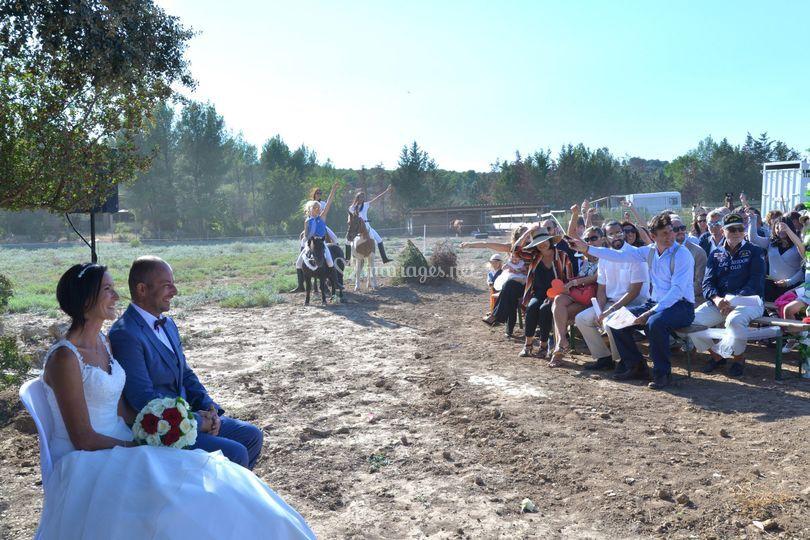 Mariés, famille et chevaux