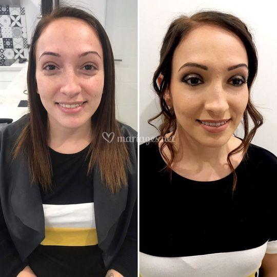 Avant/après maquillage/hair