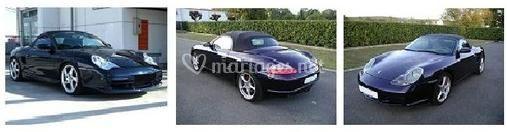 Porsche noire vues de côté