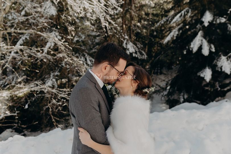 Mariage hiver montagne