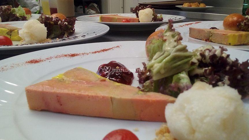 Foie gras sorbet poire