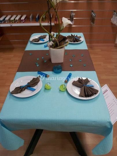 Exposition turquoise, chocolat & vert anis