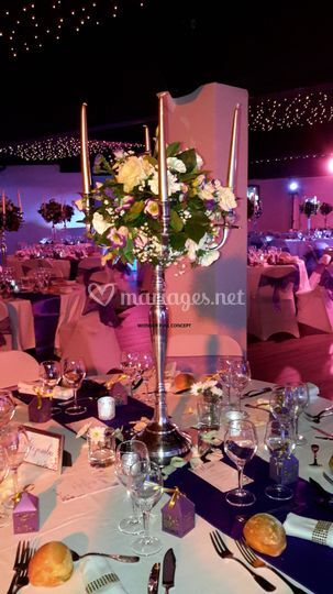 Chandelier fleurs et bougies