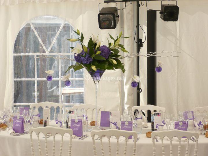 Mariage violet et blanc