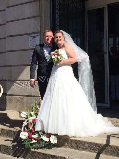 Bouquet de mariée et corbeille