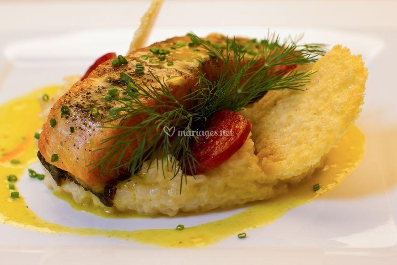 Risotto et saumon grillé
