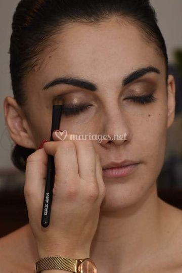 Mariée maquillage soutenu brun