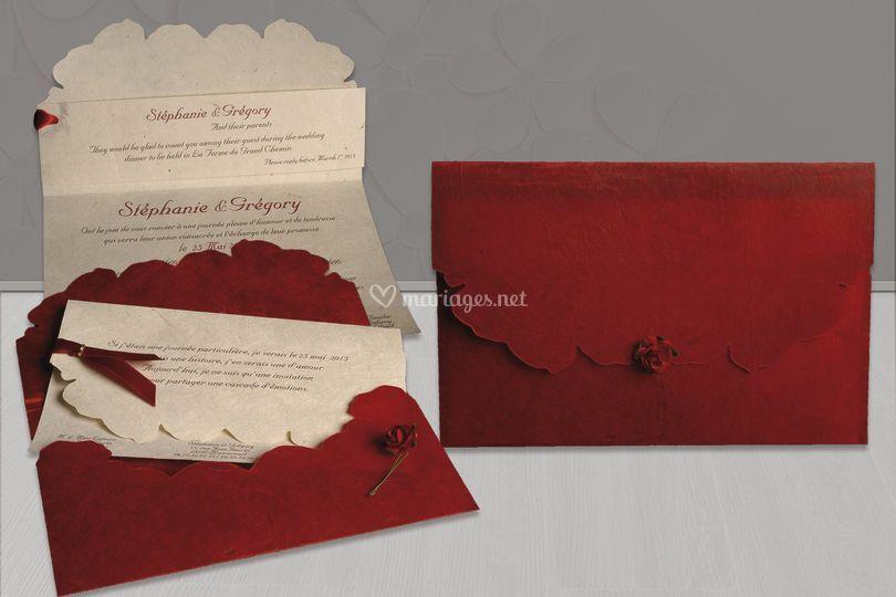 Pochette rose rouge