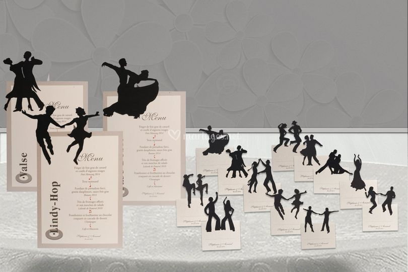 Danse : menus, marque-place