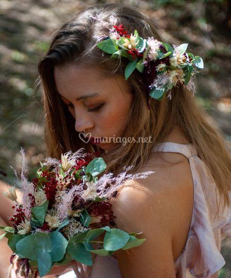 Bouquet et coiffe séchés