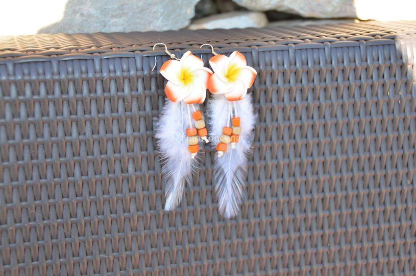 Boucles d'oreilles Java plumes